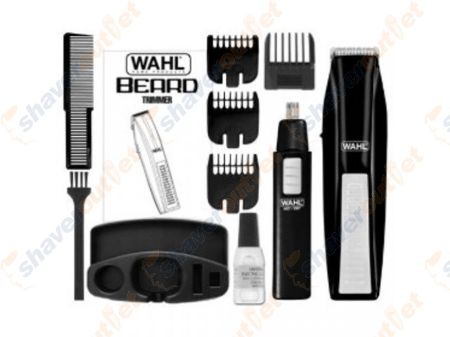 wahl 11 piece battery beard trimmer with ear and nose trimmer. Black Bedroom Furniture Sets. Home Design Ideas